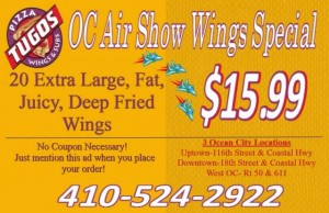 OC Air Show – Wings Special Pizza Tugos Ocean City MD