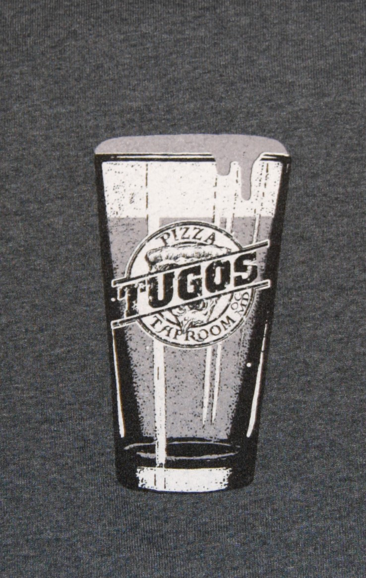 Tugos Taproom Beer Decal Heather Blue Shirt Close Up