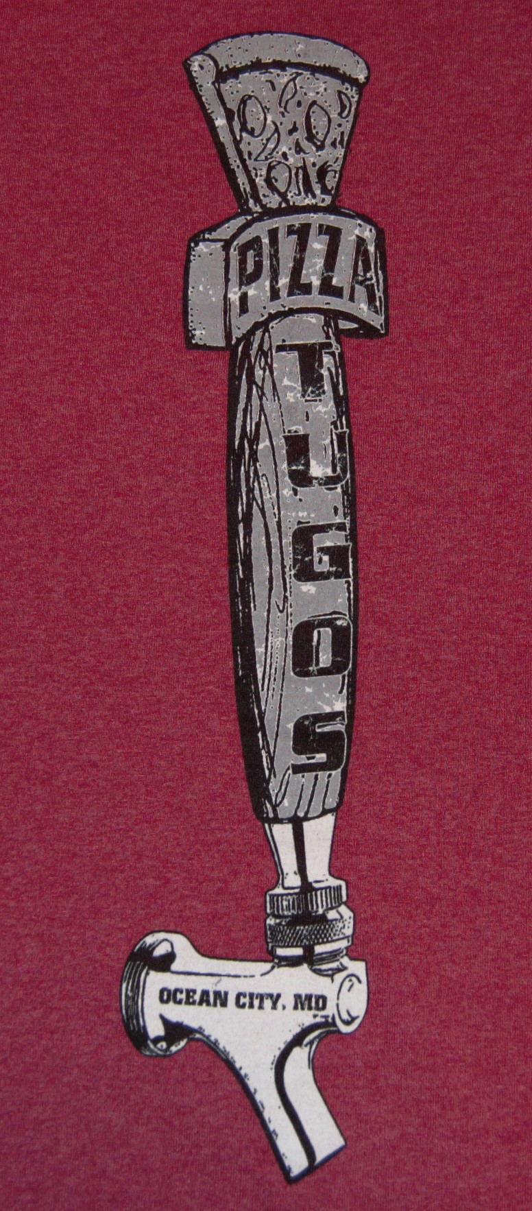 Tugos Taproom Beer Tap Red Back of Shirt Close Up