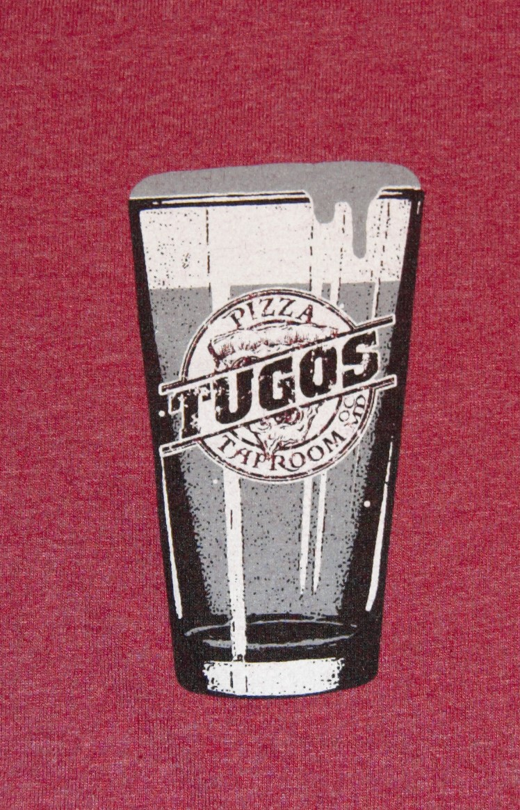 Tugos Taproom Beer Decal Red Shirt Close Up