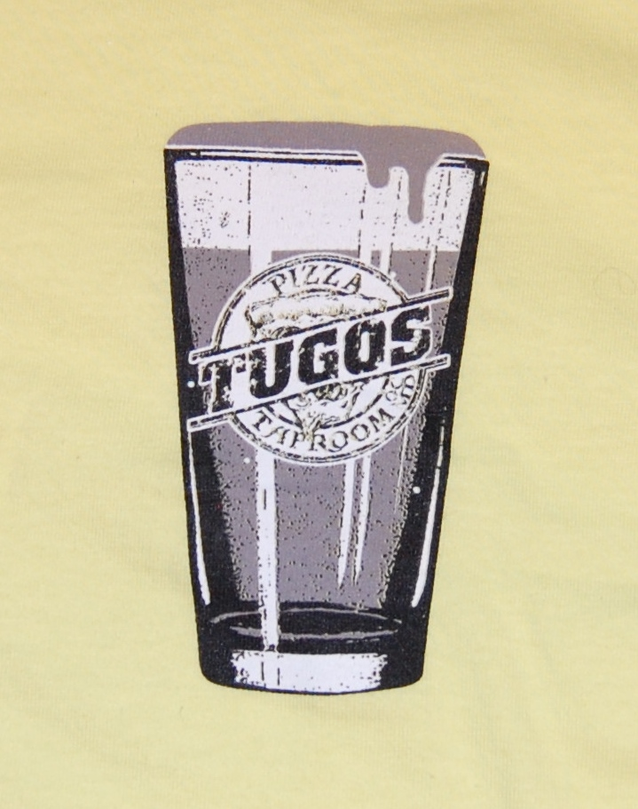 Tugos Taproom Beer Decal Lemon Shirt Close Up