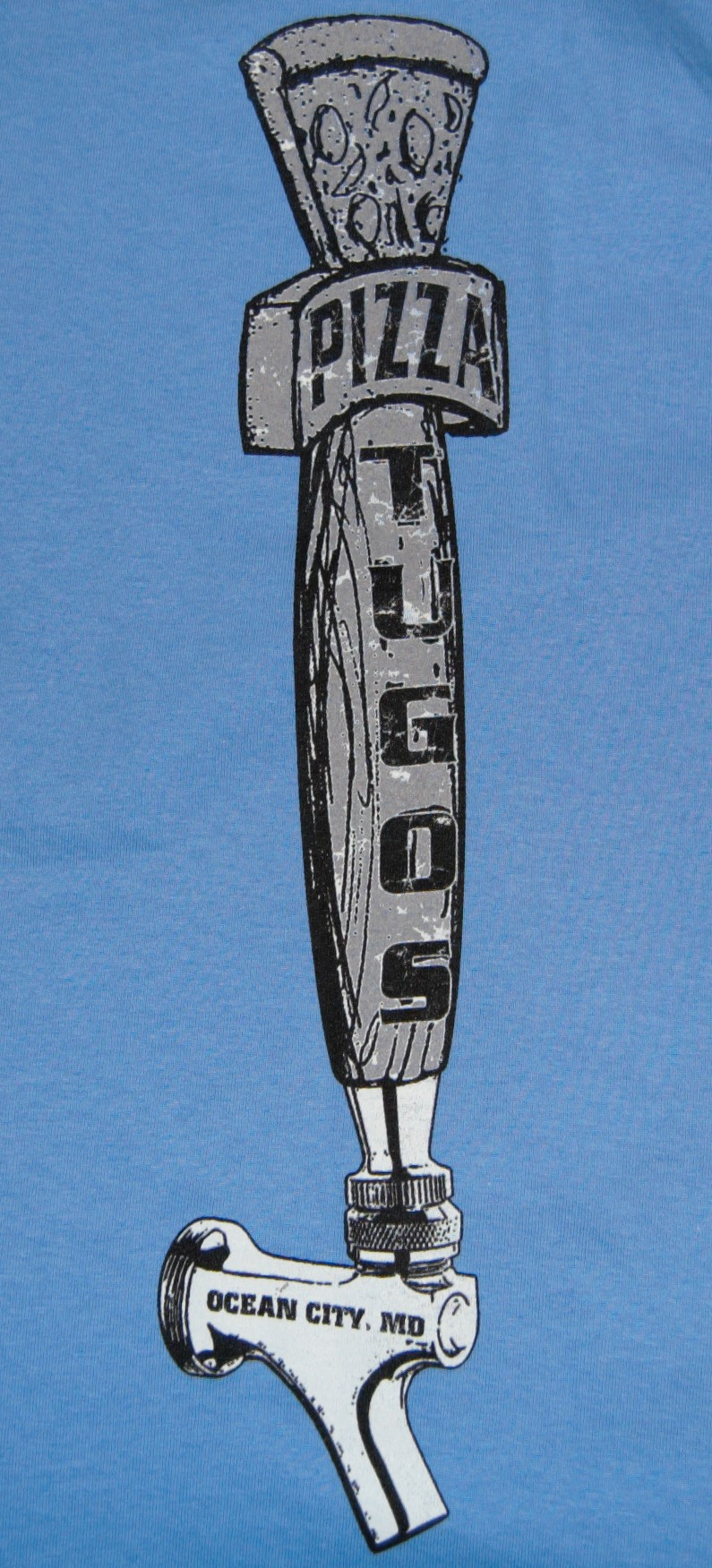 Tugos Taproom Beer Tap Periwnkle Back of Shirt Close Up