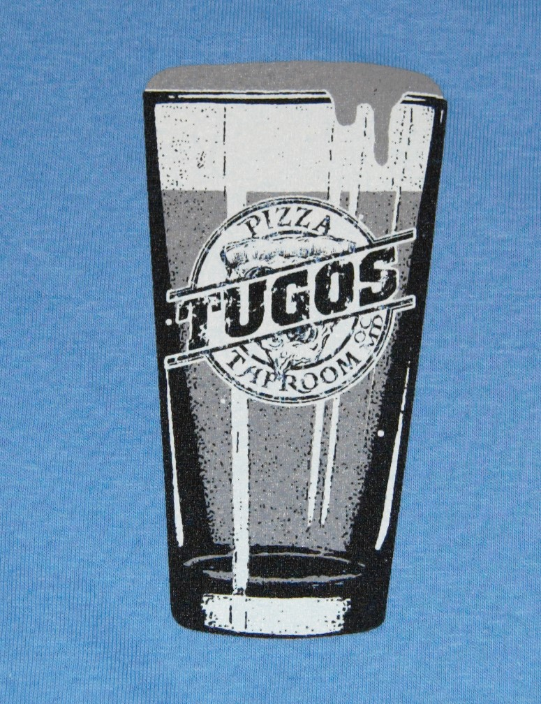 Tugos Taproom Beer Decal Periwinkle Shirt Up Close