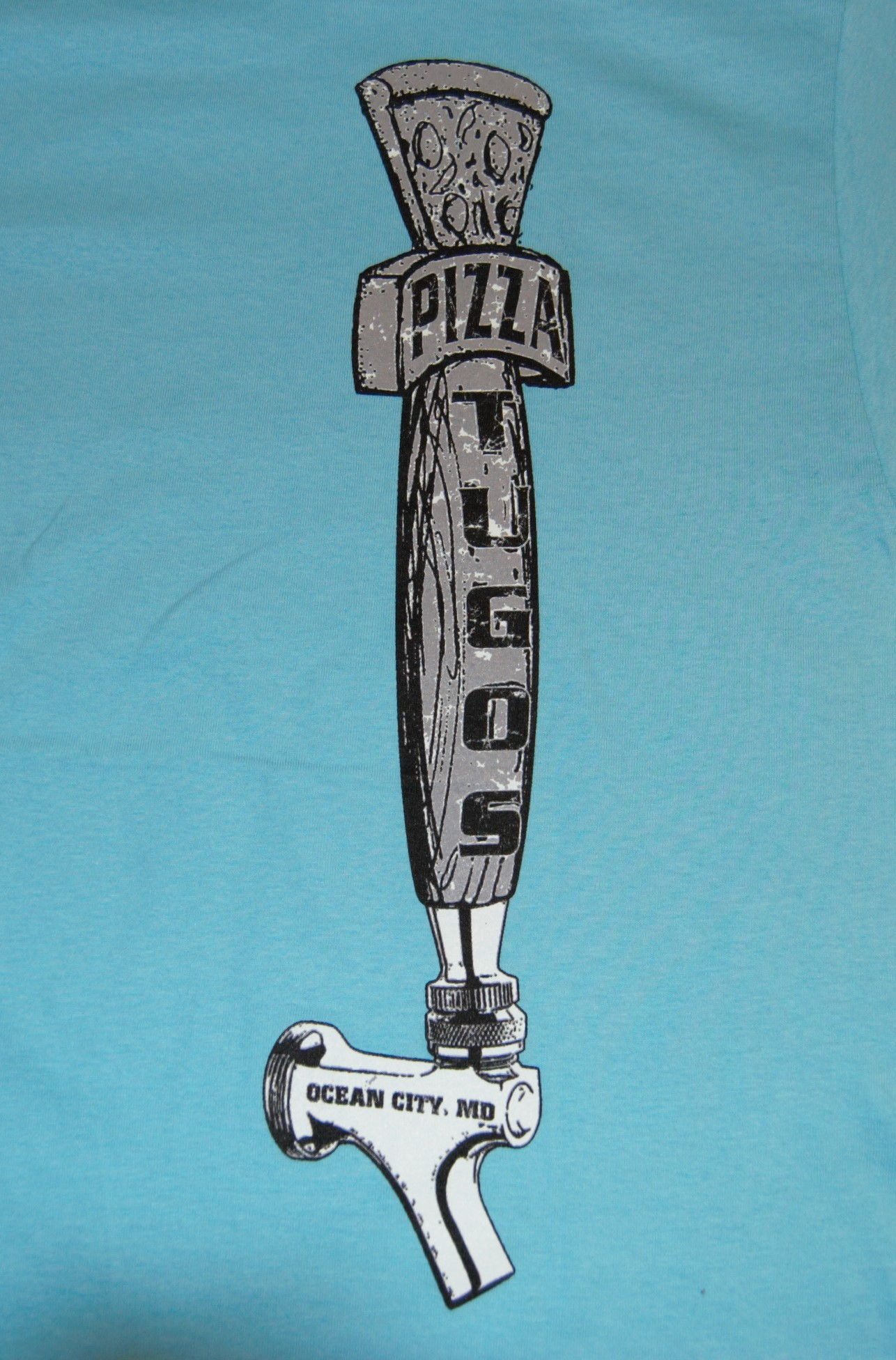 Tugos Taproom Beer Tap Robin Egg Blue Back of Shirt Close Up