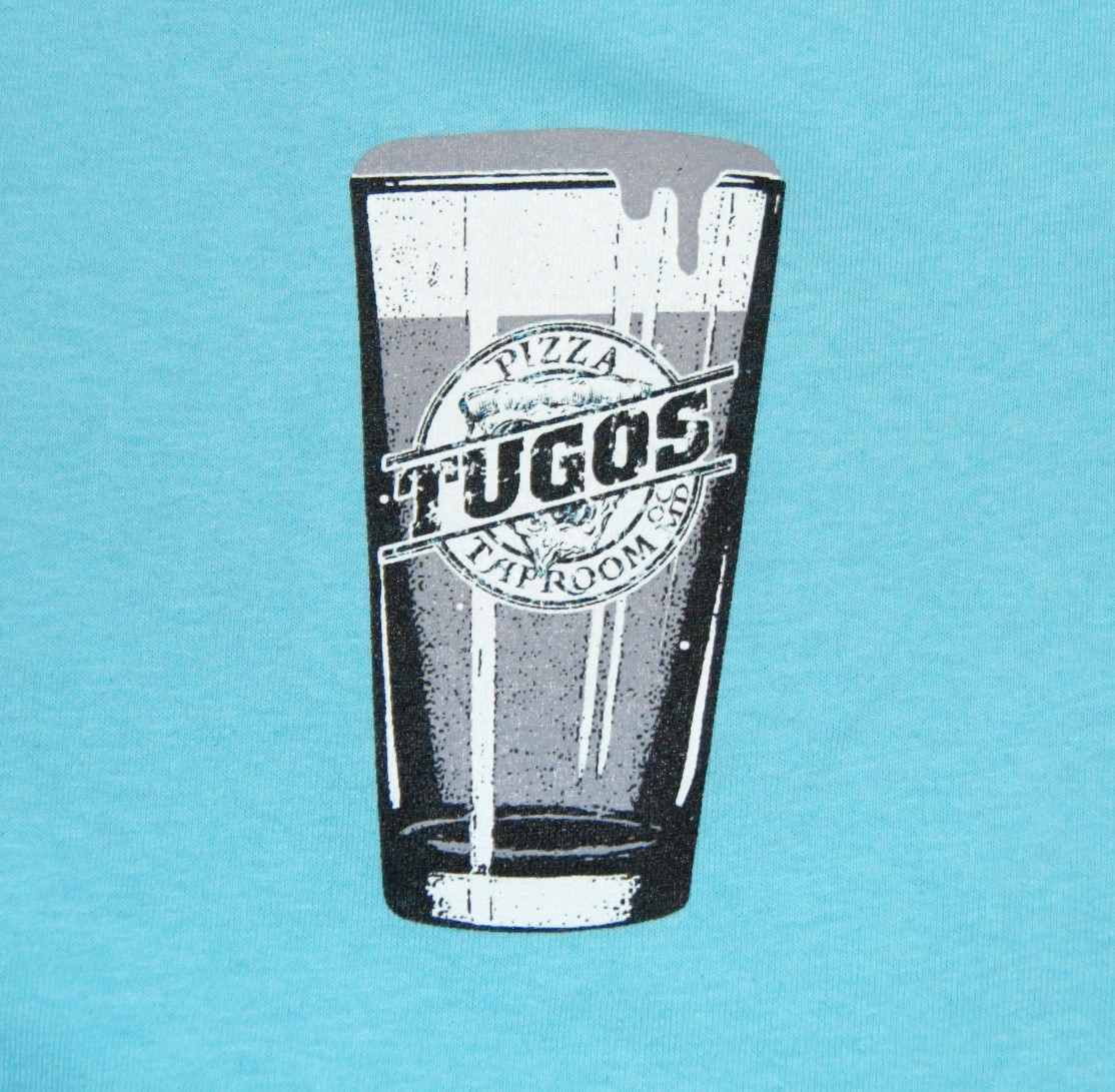 Tugos Taproom Beer Decal Robin Egg Blue Shirt Up Close