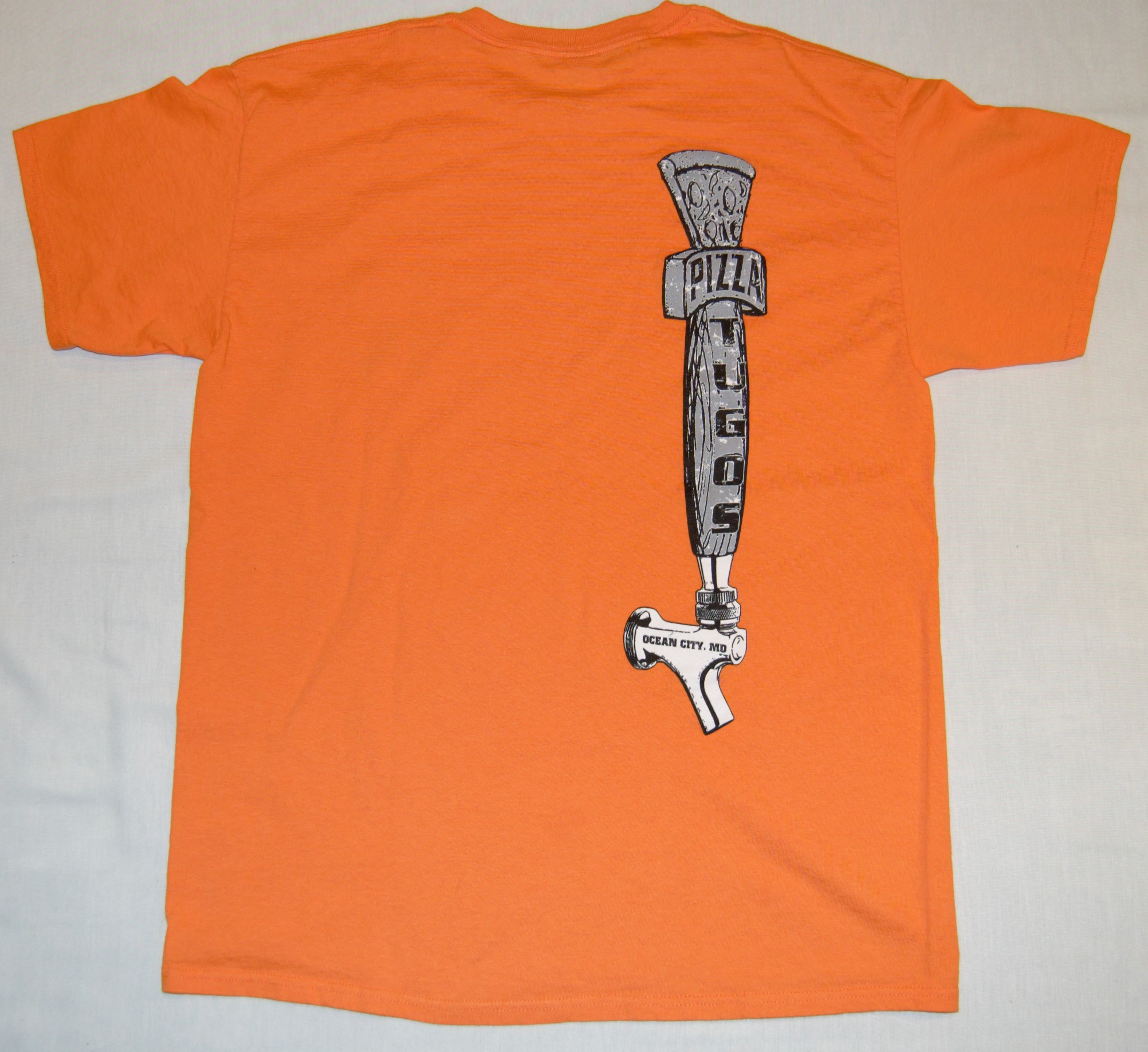 Tugos Taproom Beer Tap Orange Back of Shirt