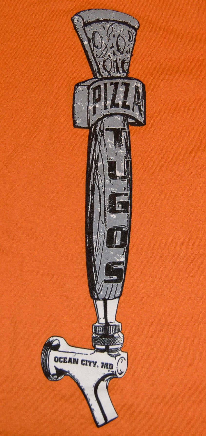 Tugos Taproom Beer Tap Orange Back of Shirt Close Up