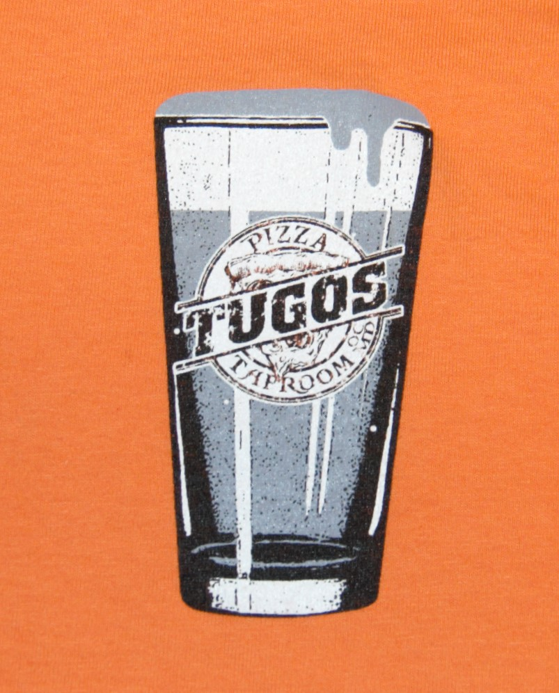 Tugos Taproom Beer Decal Orange Shirt Up Close