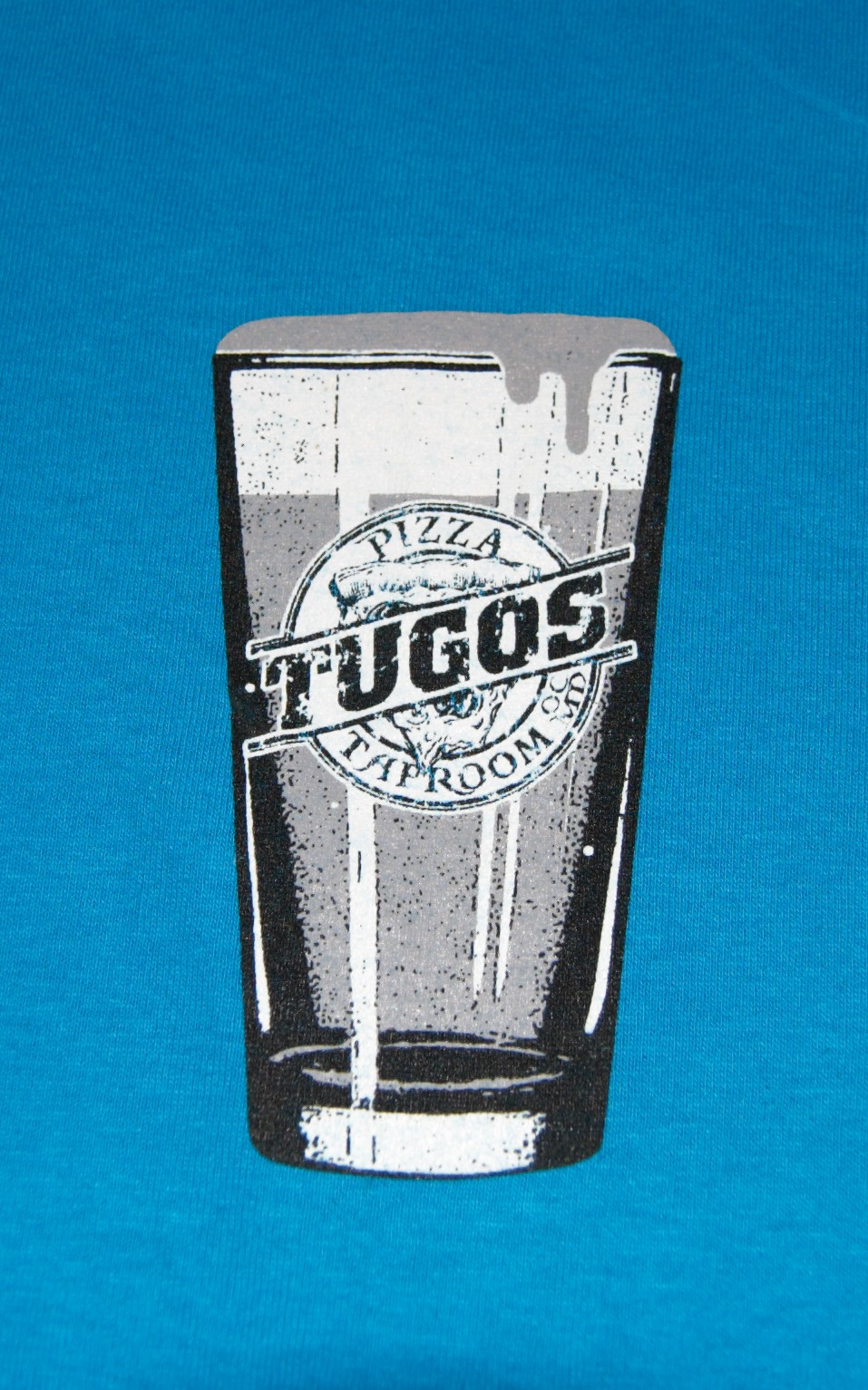Tugos Taproom Beer Decal Turquoise Shirt Up Close